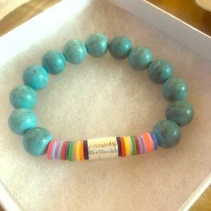Teal marble bead bracelet